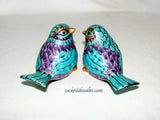 Bird Salt Pepper Shakers Hand Painted Purple Bird Cake Toppers