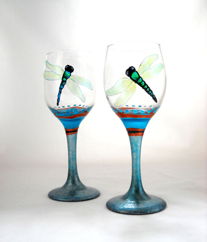 Dragonfly Glassware Hand Painted Mini Cordial Stemware - sackettdoodles