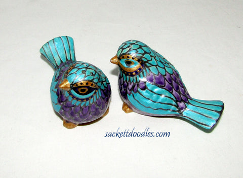 Bird Salt Pepper Shakers Hand Painted Carnival Bird Cake Toppers