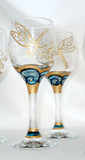 Dragonfly Cordial Glasses Hand Painted Glassware Dragonfly Set of Four