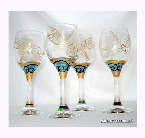 Agave Wave Cordial Glasses Hand Painted Dragonfly Glassware - sackettdoodles