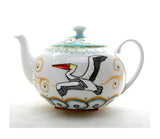 Porcelain Teapot Hand Painted Coastal Home Decor - sackettdoodles