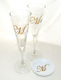 Monogram Trumpet Flutes Hand Painted Glassware with Ring Dish Personalized Gifting