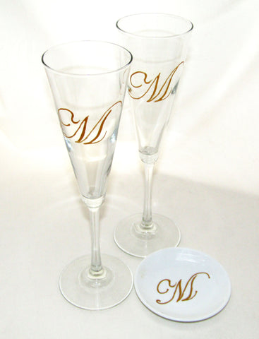 Monogram Trumpet Flutes with Porcelain Ring Dish Hand Painted Custom Personalized