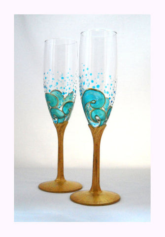 Ocean Waves Beach Wedding Flutes With Gold Stems Hand Painted