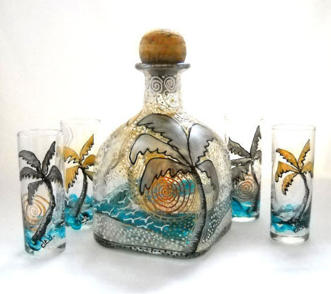 Beachy Decanter Hand Painted Patron Bottle Art on Glass - sackettdoodles