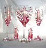 Pink Lighthouse Wine Glass Hand Painted Nautical Goblet Art on Glass