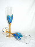 Blue Moon Flower Hand Painted Wedding Toasting Flutes - sackettdoodles