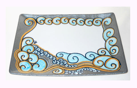 Platinum Blue Wave Serving Platter Hand Painted Serveware Complimentary Shipping - sackettdoodles