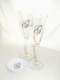 Monogram Trumpet Flutes Hand Painted Wedding Glassware with Ring Dish Personalized Gifting