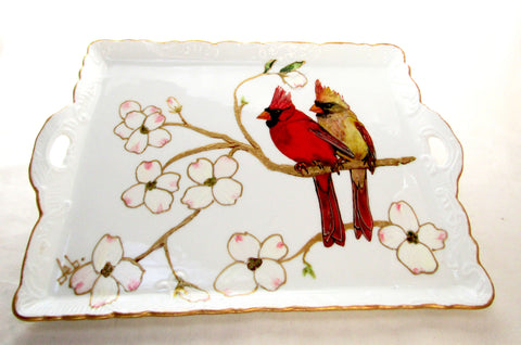 Red Bird Cardinal Serving Tray Hand Painted Porcelain Platter Serving Accessory