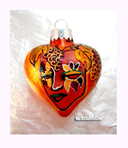 Decorative Ornament Hand Painted Puffed Glass Art - sackettdoodles