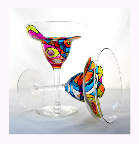 Dancing Mambo Colorful Margarita Glassware - sackettdoodles