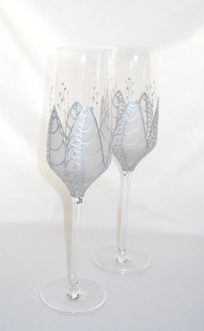 Crystal Anniversary Flutes Hand Painted Moon Flower Glassware - sackettdoodles