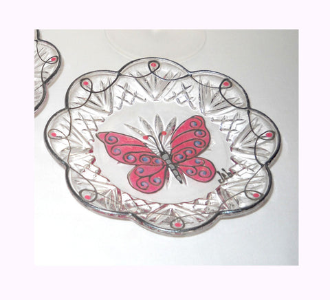 Crystal Canape Plates Hand Painted Pink Butterfly Art - sackettdoodles