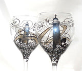 Platinum Lighthouse Goblets Hand Painted Glassware Nautical Art on Glass