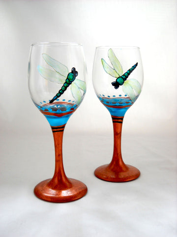 Dragonfly Mini Wine Glassware Hand Painted Cordial Glasses - sackettdoodles