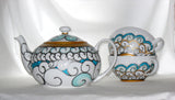 Teapot Hand Painted Custom Designed Porcelain Serveware - sackettdoodles