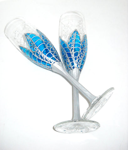 Blue and Silver Moon Flower Hand Painted Wedding Toasting Flutes - sackettdoodles