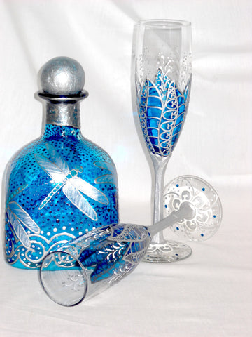 Silver Moon Flower Toasting Flutes Hand Painted Blue Wedding Decanter Flute Set FREE SHIPPING