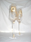 Peacock Feather Flutes Hand Painted Crystal Wedding Glassware - sackettdoodles