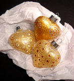 Gold Scrolled Ornaments Hand Painted Glass Hearts - sackettdoodles