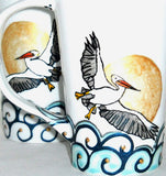 White Pelican Latte Mugs Hand Painted Serveware, Coastal Home Decor