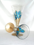 Wedding Crystal Hand Painted Blue Butterfly Italian Stemware - sackettdoodles