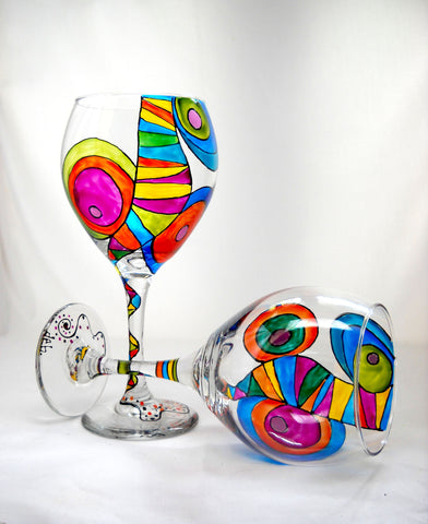 Colorful Mambo Goblets Hand Painted Glassware - sackettdoodles