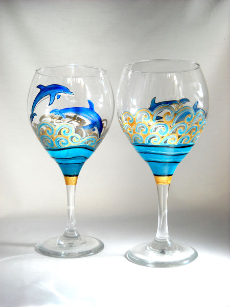 Blue dolphin goblets hand painted glassware sky spirit for Hand designed wine glasses
