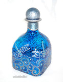 Silver Dragonfly Art on Glass Hand Painted Patron Bottle Decanter Sapphire Blue, Message in a Bottle - sackettdoodles