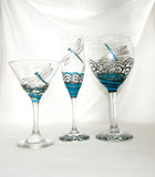 Silver Turquoise Dragonfly Flutes Hand Painted Glassware Southwestern Inspired