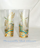 Gold Dragonfly Decanter Patron Bottle Art on Glass Hand Painted Tabletop Accessory 4 Piece Set
