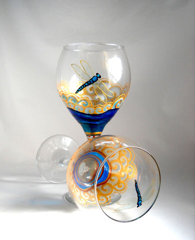 Blue Dragonfly Goblets Hand Painted Glassware - sackettdoodles