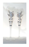 Toasting Flutes Hand Painted Dove Wedding Glassware - sackettdoodles