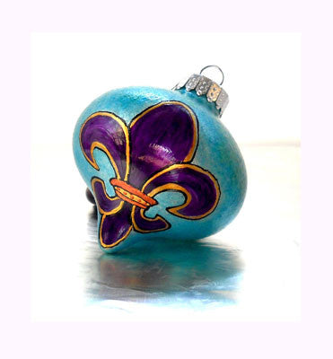 Fleur de lis Art on Glass Ornament Hand Painted Home Decor - sackettdoodles