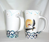 White Pelican Porcelain Mugs Hand Painted Drinkware Coastal Home Decor