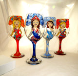 RESERVED CUSTOM ORDER Themed Novelty Carnival Costumed Goblets Hand Painted Glassware