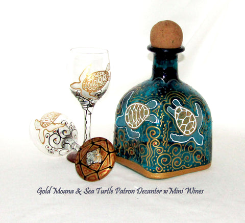 Sea Turtle Patron Bottle Hand Painted Decanter Art on Glass