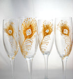 Toasting Glasses Hand Peacock Feather Flute Painted Glassware - sackettdoodles