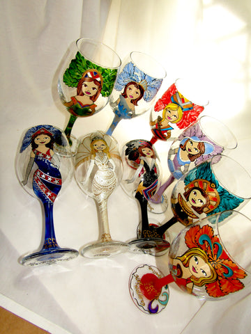 Goblets Novelty Themed Mardi Gras Glasses Made to Order Hand Painted Glassware Art on Glass ~ Sets of 8