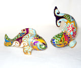 Koi Fish Salt Pepper Shakers Tabletop Accessory Hand Painted Porcelain Cake Toppers