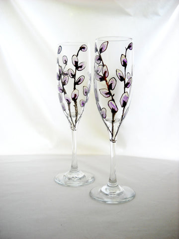Pussy Willow Flutes Hand Painted Champagne Glasses - sackettdoodles