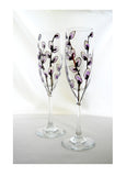 Pussy Willow Flutes Hand Painted Champagne Glasses