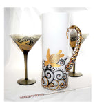 Crystal Pitcher Set Hand Painted Martini Glassware - sackettdoodles