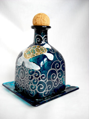 Sea Turtle Patron Bottle Decanter with Base Plate Hand Painted Bottle Art on Glass - sackettdoodles