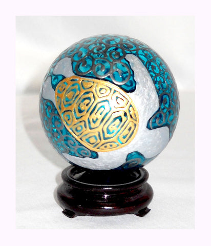 Moana & Sea Turtle Glass Ornament Hand Painted Turquoise Platinum Decorative Art - sackettdoodles