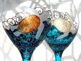 Sea Turtle Goblets Hand Painted Blue Glassware Made To Order Pair - sackettdoodles