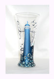 Lighthouse Pilsner Glassware Hand Painted Nautical  Barware - sackettdoodles