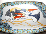 Pelican Serving Serving Tray, Porcelain Platter Coastal Art - sackettdoodles